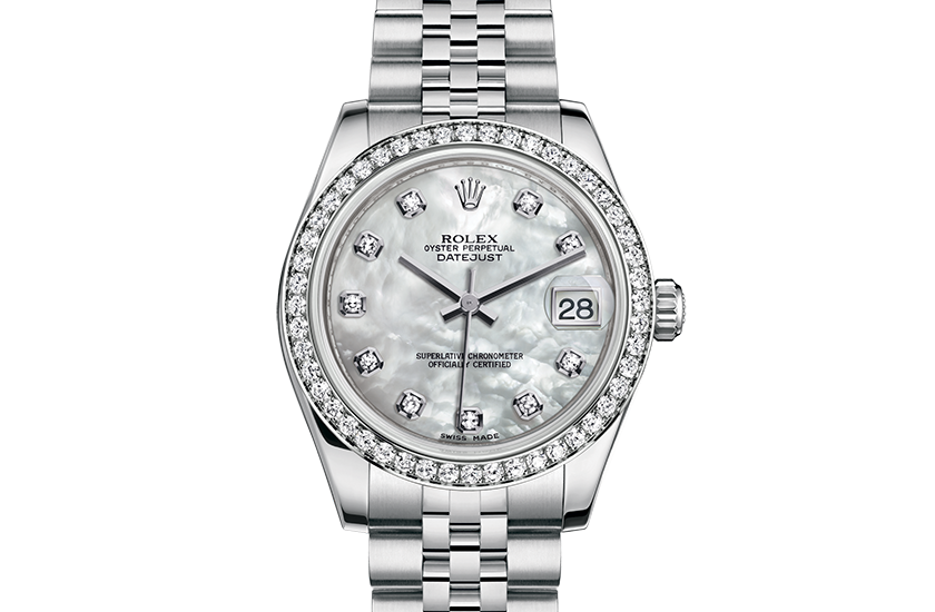 Rolex Datejust Oystersteel white gold and diamonds m178384,0004